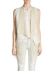 Elie Tahari Betsy Leather And Silk Vest White Sand