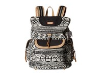 Sakroots Artist Circle Flap Backpack Black White One World Backpack Bags Beige