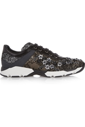 Rene Caovilla Embellished Lace Covered Leather Sneakers