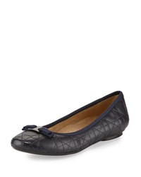 Neiman Marcus Sabrina Quilted Leather Bow Flat Navy
