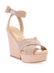 Sergio Rossi Hannelore Suede And Leather Wedge Sandals Black Bright Skin