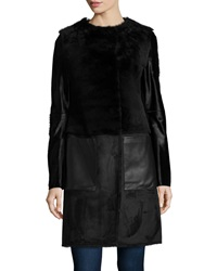 Dawn Levy Dara Long Sleeve Shearling And Leather Coat