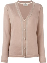 Lanvin Transparent Panel Cardigan Nude And Neutrals