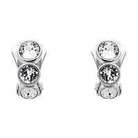 Finesse Triple Swarovski Crystal Clip On Earrings Silver