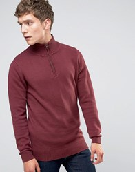 Selected Homme Roll Neck Knit With Zip Neck Detail Burgundy Red