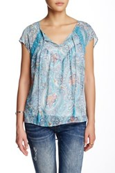 Daniel Rainn Short Sleeve Tie Boho Blouse Petite Blue