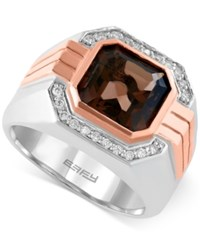 Effy Collection Gento By Effy Smoky Quartz 3 7 8 Ct. T.W. And Diamond 1 6 Ct. T.W. Ring In 14K Rose And White Gold