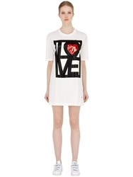 Love Moschino Embroidered Cotton Jersey T Shirt