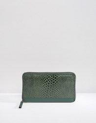 Urbancode Leather Purse With Faux Snakeskin Panel Deep Forest Green