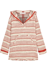 Thakoon Striped Woven Cotton Blend Hooded Top