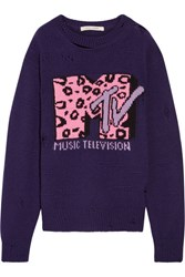 Marc Jacobs Oversized Distressed Intarsia Wool And Cashmere Blend Sweater Purple