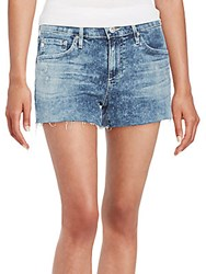 Ag Adriano Goldschmied Bonnie Acid Wash Cut Off Denim Shorts Moon Blue
