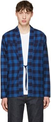 Naked And Famous Denim Indigo Check Kimono Shirt