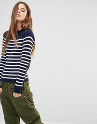 G Star Stripe Knit Jumper With Leather Look Panels Multi