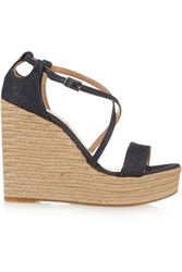 Tabitha Simmons Jenny Denim Espadrille Wedge Sandals Blue