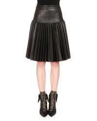 Givenchy Pleated Leather Fit And Flare Skirt Black