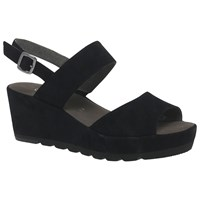 Gabor Study Double Strap Wedge Heeled Sandals Black