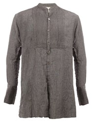 Greg Lauren Mid Length 'Tux' Shirt Grey