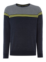 Duck And Cover Men's Bearing Textured Plaited Stripe Jumper Navy