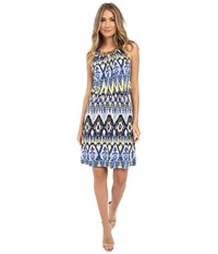Christin Michaels Keely Halter Dress Blue Yellow Women's Dress
