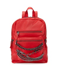 Ash Domino Chain Small Leather Backpack Red Silver Gunmetal