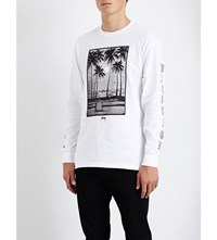 Stussy Palm Print Cotton Jersey Top White