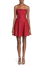 Soloiste Bow Back Lace Fit And Flare Dress Dark Red
