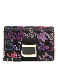Roger Vivier Viv' Icon Micro Sequinned Satin Shoulder Bag Black