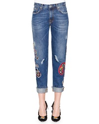 Msgm Denim Jeans With Paisley Patches