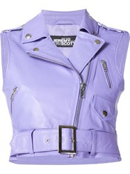 Jeremy Scott Leather Biker Vest Pink And Purple