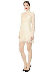 Dolce And Gabbana Cordonetto Lace Dress With Turtleneck Beige