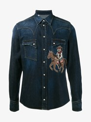 Dolce And Gabbana Cowboy Embroidered Denim Shirt Blue Denim Multi Coloured White