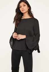 Missguided Black Flared Sleeve Chiffon Blouse