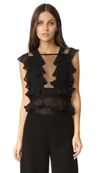 Shakuhachi Crops Shoulder Pleat Top Black