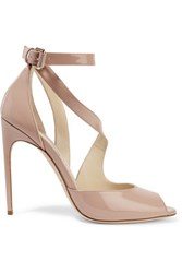 Brian Atwood Michelle Patent Leather Sandals Taupe