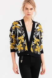 Silence And Noise Silence Noise Floral Jacquard Cardigan Green Multi