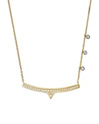 Meira T 14K White And Yellow Gold Curved Bar Necklace With Diamonds 14 Gold White