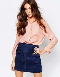 Neon Rose Double Pocket Blouse Pink