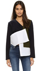 Jacquemus Patchwork Long Sleeve Top White Navy Kaki