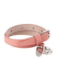 Alexander Mcqueen Double Wrap Leather Skull Bracelet Female Pink
