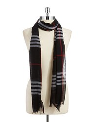Lord And Taylor Cotton Plaid Scarf Black