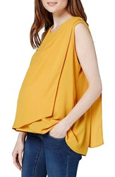 Topshop Women's Sleeveless Drape Maternity Nursing Blouse Mustard