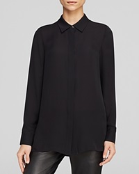 Vince Blouse Classic Button Up Silk Black