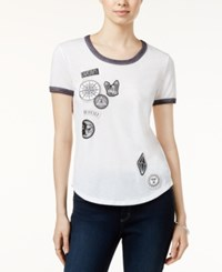 Hybrid Juniors' Mystical Patches Graphic Ringer Tee White Black