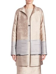 Lafayette 148 New York Jacquard Long Aalyah Coat Taupe Multi