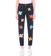Au Jour Le Jour Sequin Embellished Straight High Rise Jeans Dark Denim And Flowers