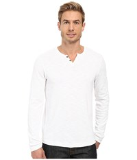 Kenneth Cole Long Sleeve Slub Henley White Men's Long Sleeve Pullover