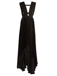La Mania Lusti Pleated Crepe Gown Black