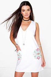 Boohoo Cap Sleeve Floral Pockets Shift Dress White