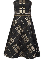 Badgley Mischka Strapless Flared Dress Black